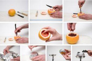 Этапы изготовления чаши из грейпфрута дял фруктового кальяна