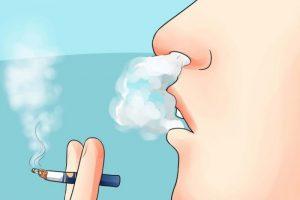 Курение с выпусканием дыма через нос
