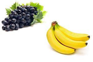 Сочетание винограда и банана